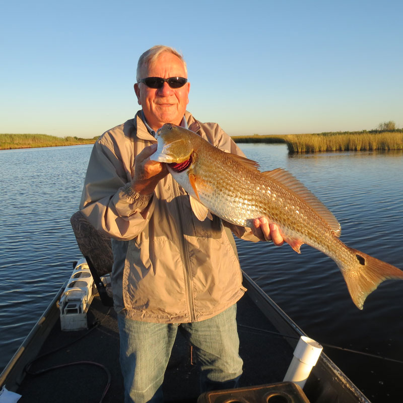 Jake has a great day catching these 30 inch red fish in Lake Charles Louisiana.